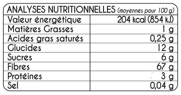Tableau Nutritionel Super Cure DIGEST BIodyne